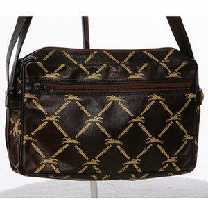 Longchamp Logo Vintage Leather Shoulder Bag Brown